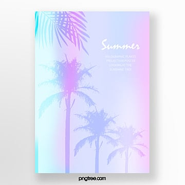 holographic fresh poster for summer tropical palm leaf projection Template