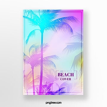 holographic gradient palm poster Template