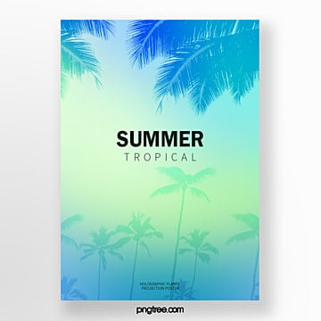 holographic gradual palm coconut projection fresh poster Template