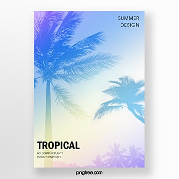 holographic palm tree projection simple poster Template