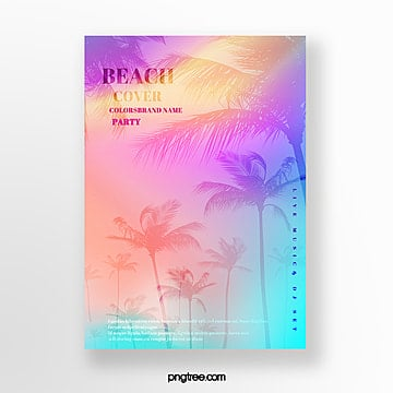 holographic plants summer party poster Template