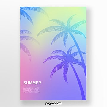 holographic simple poster for summer palm projection Template