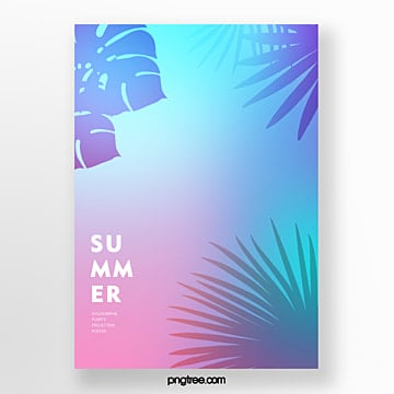 holographic simple poster for summer tropical leaf projection Template