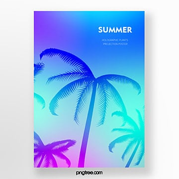 holographic tropical palm projection simple poster Template