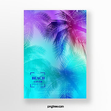 holographic tropical plants poster Template