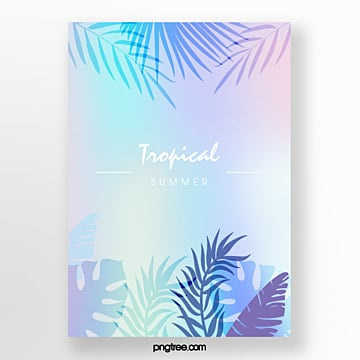 holographic tropical plants projection fresh poster Template