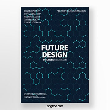 modern cover poster with blue futuristic geometric patterns Template