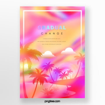 pink holographic gradient palm projection poster Template