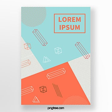 point line fashion poster with color geometry Template