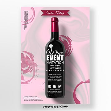 Red Fluid Gradual Wine Creative Poster Template