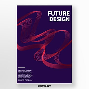 Red Futurism Curve Texture Abstract Cover Poster Template
