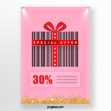 red gift box bar code elements hot selling promotional posters Template