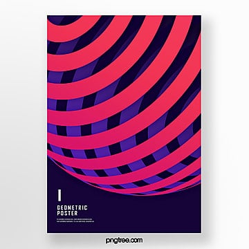 red stereo gradient geometry trend poster Template