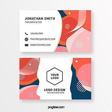 retro color memphis style business card template Template