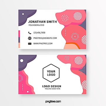 retro coloured memphis style business card Template