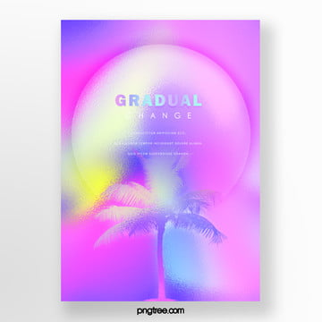 round color holographic gradient palm projection poster Template