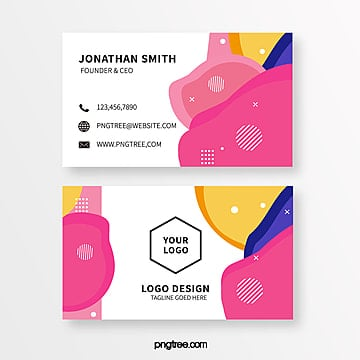 simple color memphis style business card template Template