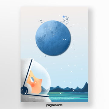 simple gradient planet meeting poster Template