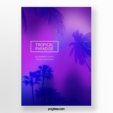 simple poster for holographic projection of coconut trees Template