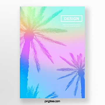 simple posters of holographic color system projection of exotic tropical plants Template