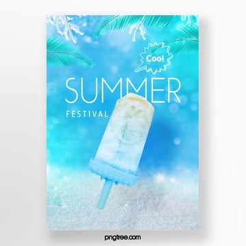 summer fresh gradual palm ice cream poster Template