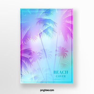 summer holographic gradual palm projection poster Template