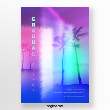 trend color holographic gradual palm projection poster Template