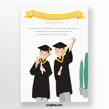 white checked student graduation poster Template