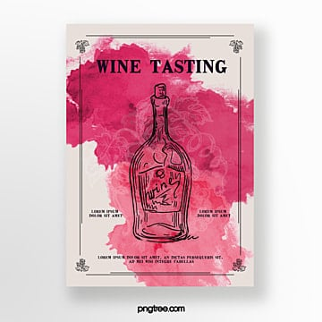 watercolor rendering wine tasting event invitation Template