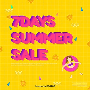 yellow chequered summer 7 promotion social media template Template