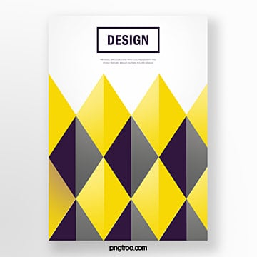 yellow diamond stitching geometric trend abstract poster Template
