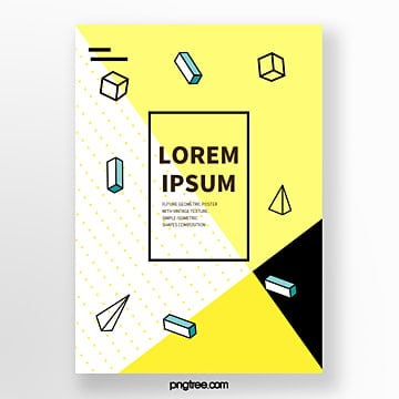 yellow geometry point line fashion art poster Template