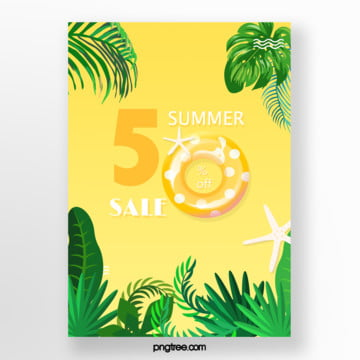 yellow swimming ring colour summer promotion poster Template