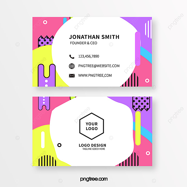 Fashion Coloured Memphis Style Business Card Template for ...