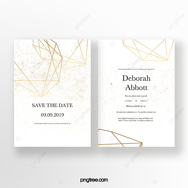 Golden Geometric Line Graphic Wedding Invitation Template For Free