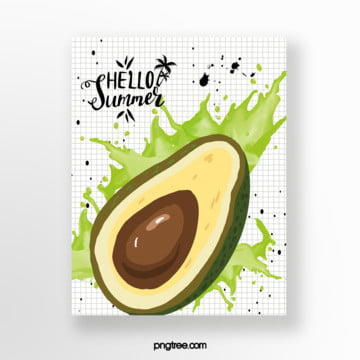 avocado summer fruit card Template