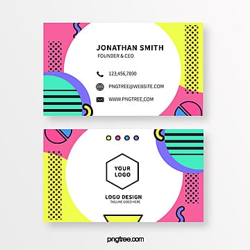 bright coloured memphis style business card Template