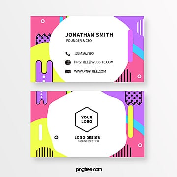 fashion coloured memphis style business card Template