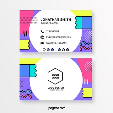 fashionable blue purple memphis style business card Template
