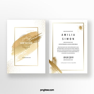 golden ink brush stroke wedding invitation Template