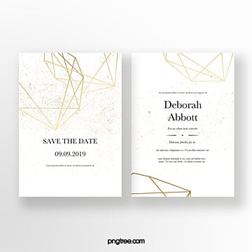 golden geometric line graphic wedding invitation Template