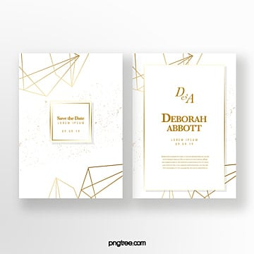golden geometric line wedding invitation Template