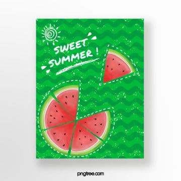 green watermelon skin print summer fruit card Template