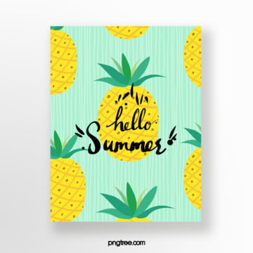 hand drawn cartoon summer pineapple fruit card Template