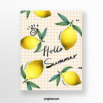 hand painted lemon summer fruit card Template