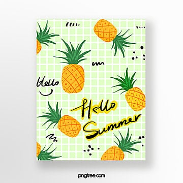 hand painted pineapple summer card Template