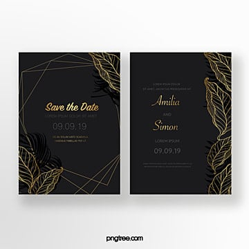 golden black geometric wedding invitation Template