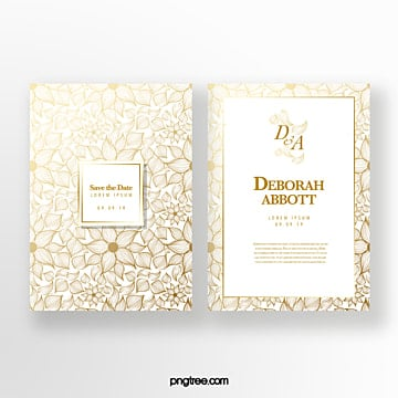 golden flower shading wedding invitation Template