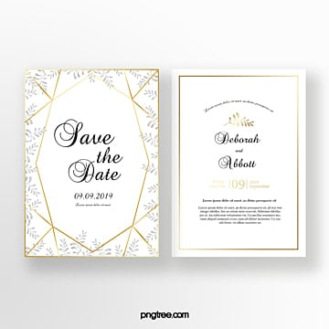 line geometry wedding invitation Template
