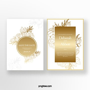 gold  flower shades wedding invitation Template